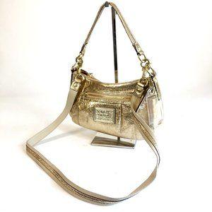Coach Poppy Gold Leather Groovy Crossbody Bag
